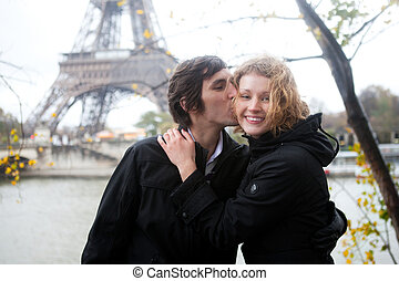 Happy couple in Paris at fall