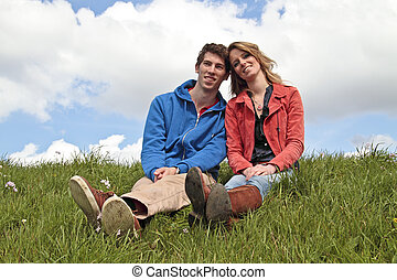 Happy couple in the countryside