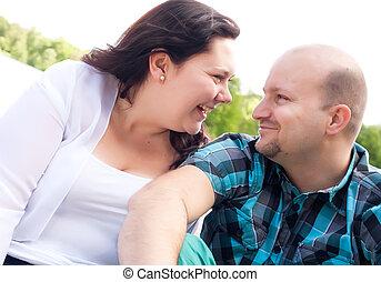Happy couple is having fun