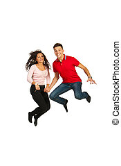 Happy couple jumping