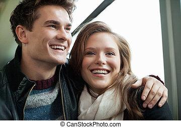 Happy Couple Looking Away