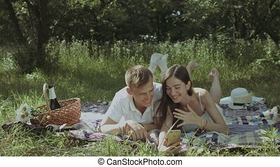 Happy couple making a phone video call on picnic