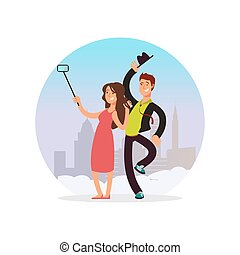 Happy couple making selfie. Cartoon character man and woman making photo