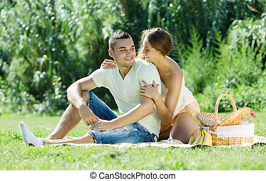 Happy  couple on picnic