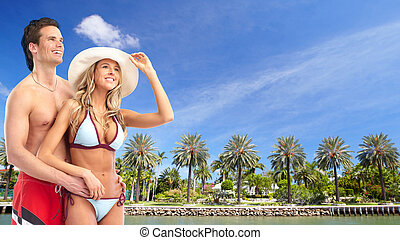 Happy couple on the beach. - Happy relaxing couple on the...
