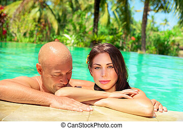 Happy couple on tropical resort