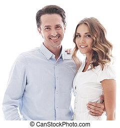 Happy couple on white