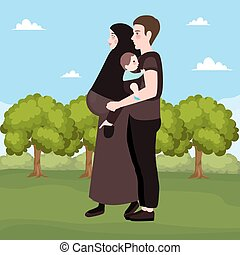 happy couple outdoor, beautiful pregnant woman with her husband Islam muslim