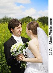 Happy couple outdoors