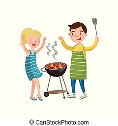 Happy couple preparing barbecue on the grill cartoon vector Illustration