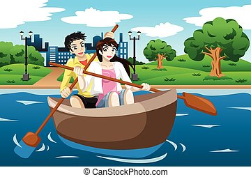 Happy couple rowing a boat