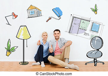 happy couple showing thumbs up at new home - home, people, ...