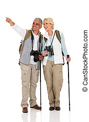 couple sightseeing and pointing direction