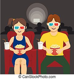 Happy couple sitting in movie theater, watching 3D movie, ...