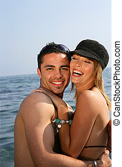 Happy couple the seaside