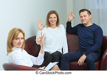 happy couple therapy session is held at the psychologist in...