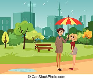 Happy couple under one big striped umbrella walking in the park, rainy weather concept cartoon vector Illustration