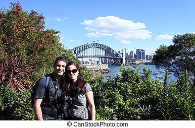 Happy couple visit Sydney New South Wales Australia