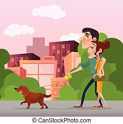 Happy couple walking with dog