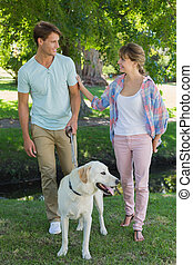Happy couple walking with their labrador in the park