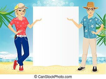 couple with a blank presentation board