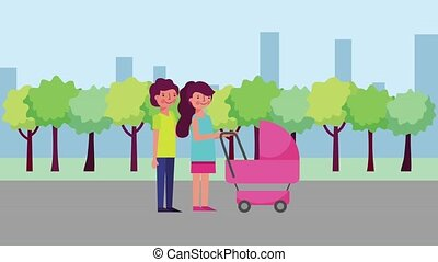 happy couple with baby carriage in city park