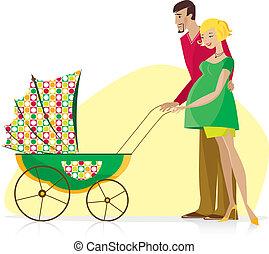 Happy Couple with Baby Stroller - Happy couple enjoy newborn...