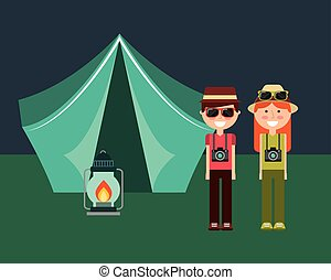 happy couple with camera hat and tent camping lamp burning
