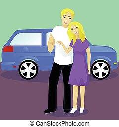 Happy couple with car keys vector illustration