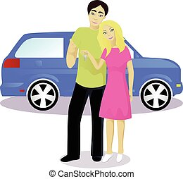 Happy couple with car keys isolated on white vector...