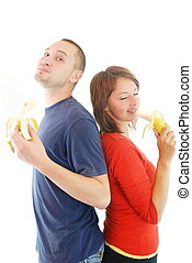 happy couple with fruits