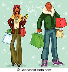 Happy couple with shopping bags and present boxes