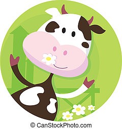 Happy cow character - farm animal - Vector illustration of...