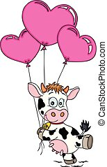 Happy cow flying with balloons