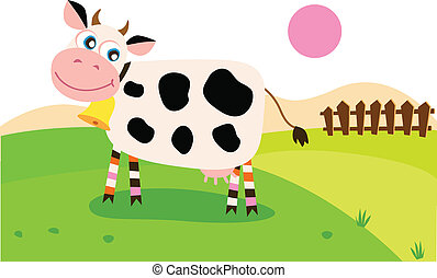 Happy cow on meadow - Vector illustration of cow on pasture.