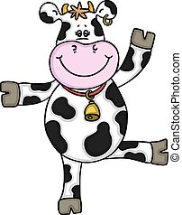 Happy cow standing and waving