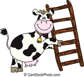 Happy cow with wooden ladder