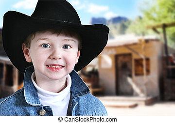Happy Cowboy in Old West