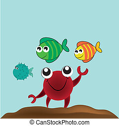 happy crab and his friends