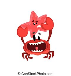 Happy crab character holding starfish, cute sea creatures with funny faces vector Illustration on a white background