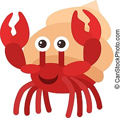 Happy crab, illustration, vector on white background.