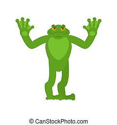 happy., crapaud, grenouille, anuran, vecteur, illustration, joyeux, joyful., emotions.