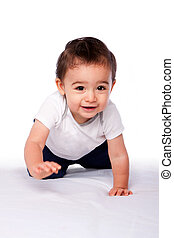 Happy crawling baby toddler - Cute happy crawling baby...