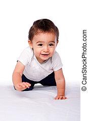 Happy crawling baby toddler - Cute happy crawling baby...
