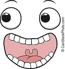 happy crazy face draw