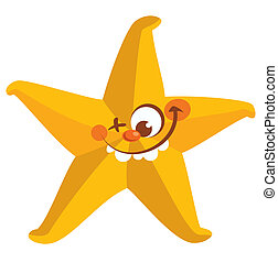 Happy crazy yellow face starfish tooth smiling with one eye...