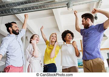 happy creative team in office - business, triumph, gesture,...