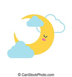 happy crescent moon with clouds kawaii character flat style