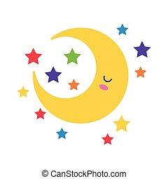 happy crescent moon with stars kawaii character flat style