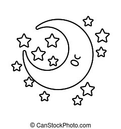 happy crescent moon with stars kawaii character line style